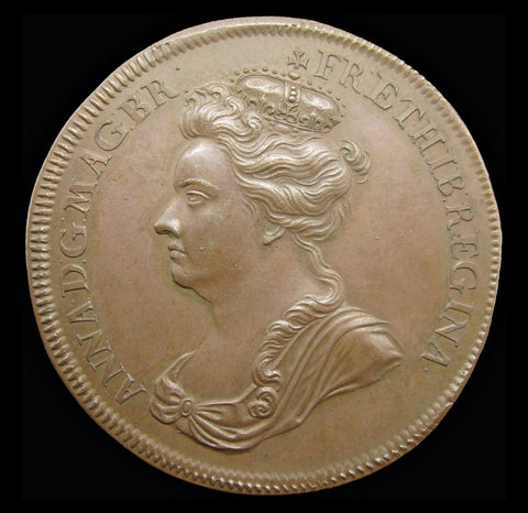 1702 Accession Of Queen Anne 35mm Medal - By Croker