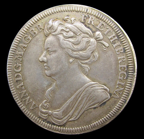 1702 Coronation Of Queen Anne 35mm Silver Medal - By Croker