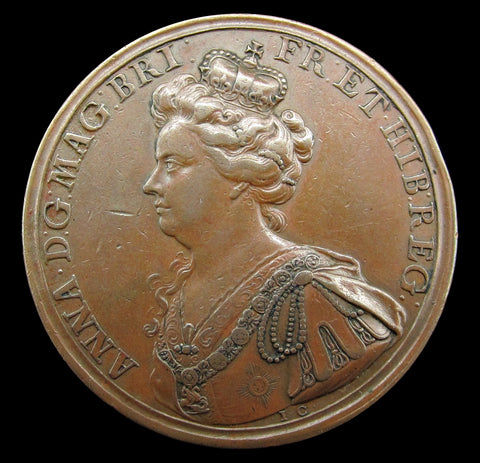 1708 Anne Battle Of Oudenarde 44mm Copper Medal - By Croker