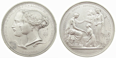 1851 Great Exhibition Prize Medal By Wyon - Struck In White Metal