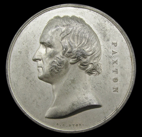 1854 Crystal Palace 'Paxton' 64mm White Metal Medal - By Wyon