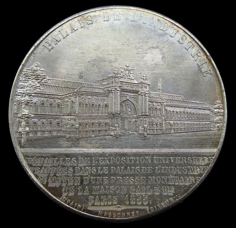 France 1855 Napoleon III Universal Exposition 50mm WM Medal - Cased