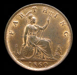 Victoria 1860 Farthing - Toothed Border - UNC