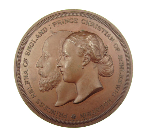 1866 Marriage Of Helena & Christian 64mm Silver Medal - By Wyon