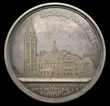1871 Lancashire Opening Of Rochdale Town Hall 51mm Silver Medal - Cased