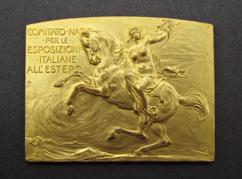 Italy 1910 International Expositions Gilt Bronze Plaquette - By Johnson