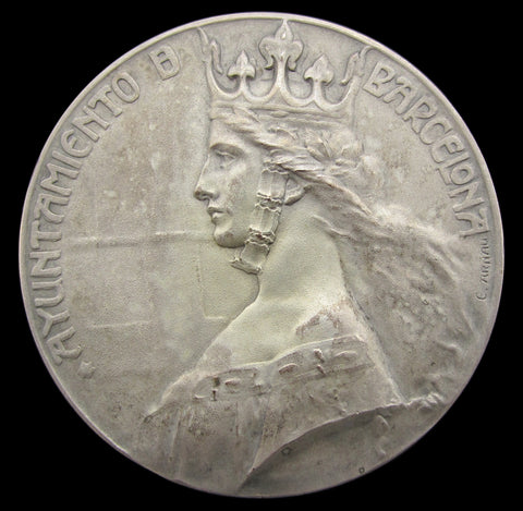 Spain 1911 Barcelona International Exposition Of Arts 60mm Medal - By Arnau