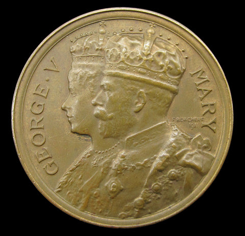 1911 Coronation Of George V 36mm Bronze Medal - By Bowcher