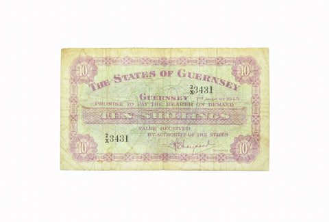 Guernsey 1945 10 Ten Shilling Banknote