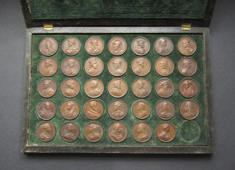 1731 Dassier's Kings & Queens Of England Set Of 34 Medals - Cased