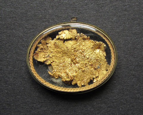 USA 1876 Goldrush Gold Nugget Glass Locket With Dollar