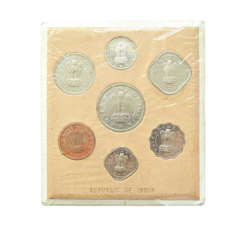 India 1954 7 Coin Proof Set Rupee Down - In Original Packaging