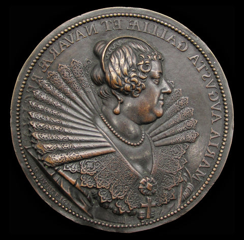 France 1624 Marie de' Medici 102mm Uniface Medal - By G.Dupre