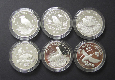 1988 Birds Of The Caribbean 6 x Silver Proof $100 Dollar Coin Set