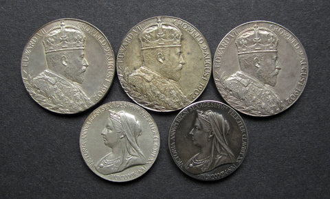 1897 & 1902 Group Of 5 x Silver Coronation / Jubilee Medals
