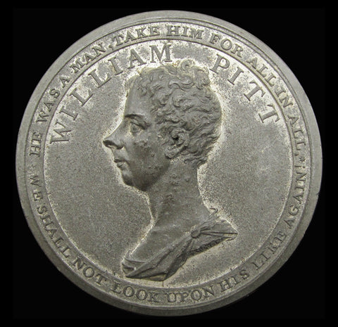1806 Death Of William Pitt 'Oh My Country' White Metal Medal