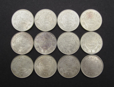 Saudi Arabia 1935-1954 Lot Of 12 x Silver Riyal Coins