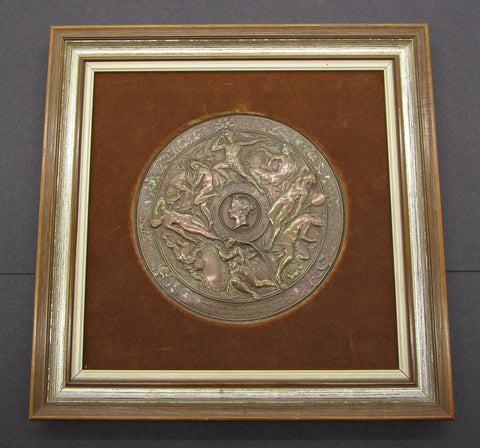 1865 National Art Competition 145mm Framed Copper Medal - By Vechte