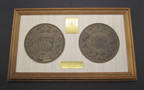 1815 Waterloo Pair Of Framed Uniface Electrotype Medals - By Pistrucci