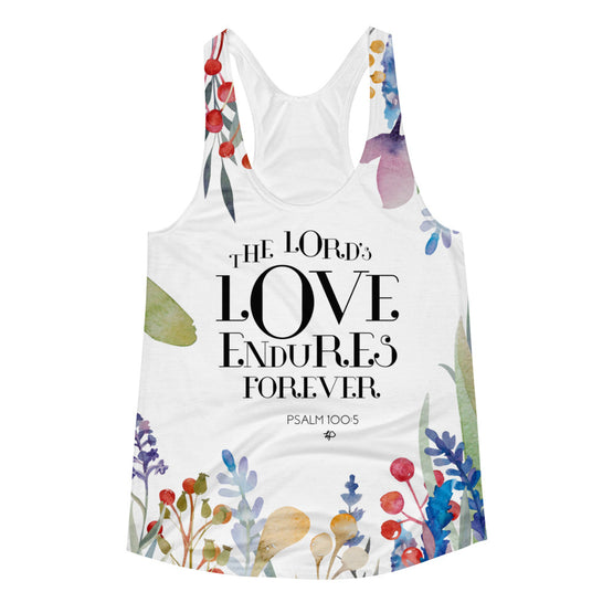 The Lord's Love Endures Forever Women's All-Over Print Racerback Tank