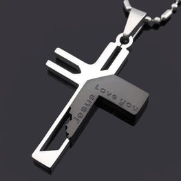 Love You Jesus Cross Pendant Necklace
