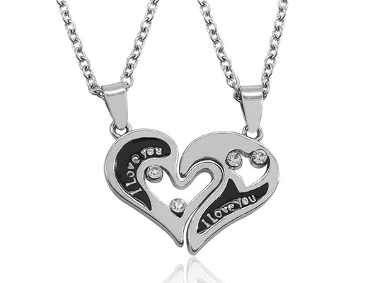 I Love You Heart Pendant Necklaces 2 PCS/Set