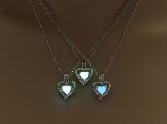 Lovely Heart Shape Luminous Pendant Necklace
