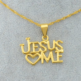 Jesus ♥ Me Gold Pendant Necklace