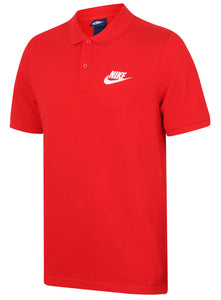 Nike Mens Sportswear Pique Cotton Polo Shirt - 909746-657 - Red - Front
