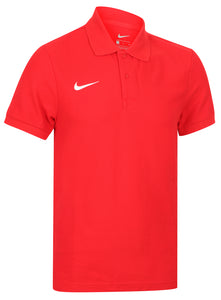 Nike Mens Team Core Pique Cotton Polo Shirt - 454800-657 - Red Front