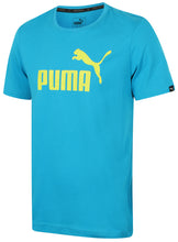 Puma Men's Style No1 Logo Bright Cotton dryCELL Crew T-Shirt Blue Front