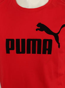 Puma Men's Style No1 Logo Bright Cotton dryCELL Crew T-Shirt Red Logo