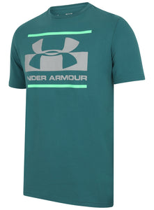 Under Armour Men's Blocked Sportstyle Logo Cotton Crew T-Shirt - 1305667-296 - Blue-Green Front