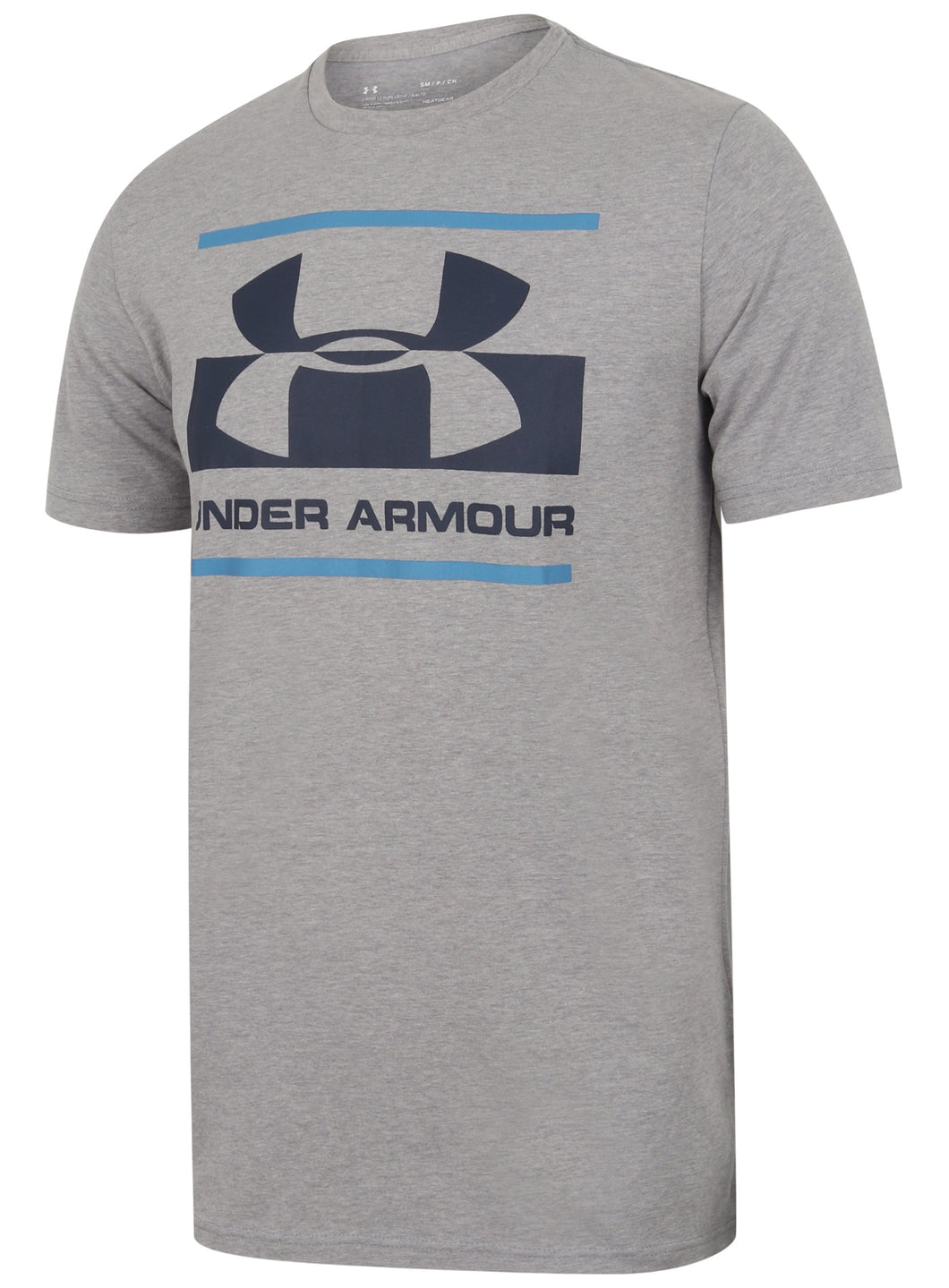 Under Armour Men's Blocked Sportstyle Logo Cotton Crew T-Shirt - 1305667-035 - Grey Front