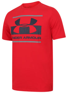 Under Armour Men's Blocked Sportstyle Logo Cotton Crew T-Shirt - 1305667-600 - Red Front