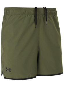 Under Armour Men's Qualifier HeatGear Green 5 Inch Woven Training Shorts