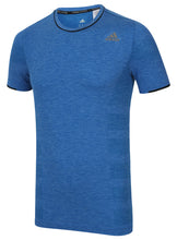 adidas Men's Adistar Primeknit Blue Wool Blend Slim Fit Crew Running T-Shirt
