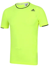 adidas Men's Adistar Primeknit Yellow Wool Blend Slim Fit Crew Running T-Shirt