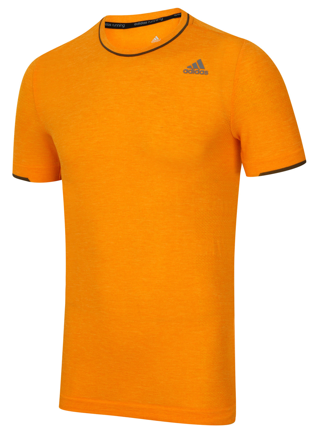 adidas Men's Adistar Primeknit Orange Wool Blend Slim Fit Crew Running T-Shirt