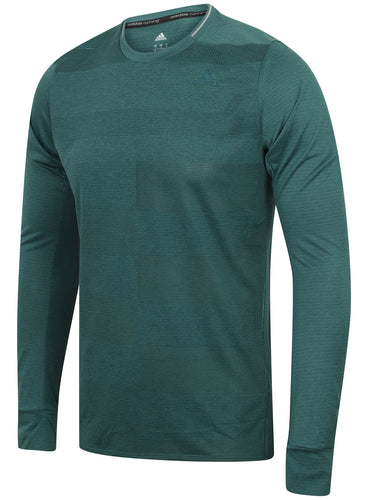 adidas Mens Supernova climalite Long Sleeve Running T-Shirt - AX8468 - Green Front