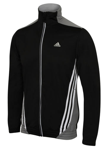adidas Men's Essentials 3S Black climalite Full Zip Track Top