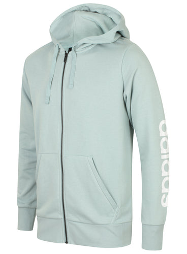 adidas Men's Essentials Linear Light Green French Terry Cotton Full Zip Hoodie
