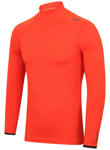 adidas Mens TechFit climaheat Long Sleeve Compression Top - AY3765 - Orange Front