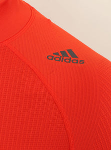 adidas Mens TechFit climaheat Long Sleeve Compression Top - AY3765 - Orange Logo