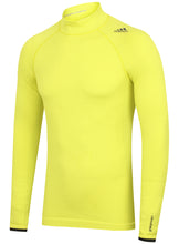 adidas Mens TechFit climaheat Long Sleeve Compression Top - AY3759 - Yellow Lime Green Front