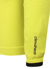 adidas Mens TechFit climaheat Long Sleeve Compression Top - AY3759 - Yellow Lime Green Sleeve