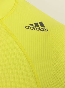 adidas Mens TechFit climaheat Long Sleeve Compression Top - AY3759 - Yellow Lime Green Logo