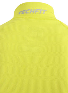 adidas Mens TechFit climaheat Long Sleeve Compression Top - AY3759 - Yellow Lime Green Technology