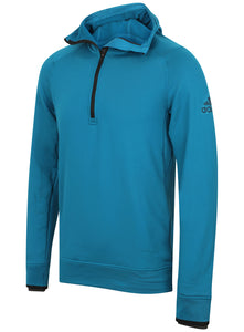 adidas Mens climaheat Half Zip Fleece Training Hoodie - AZ1287 - Blue Front
