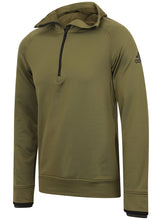 adidas Mens climaheat Half Zip Fleece Training Hoodie - AZ1286 - Green Front